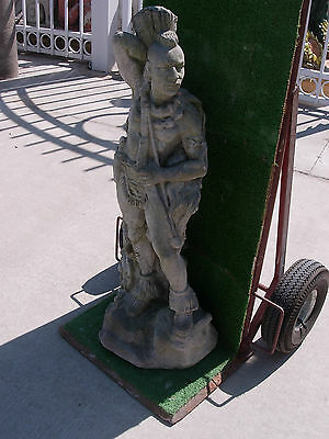 """Weathered 35"""" Tall Concrete Native Warrior Statue"""