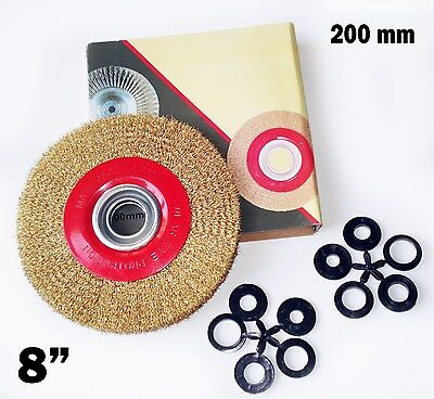 "8"" Inch Round Brass Plated Steel Wire Brush Wheel For Bench Grinder"