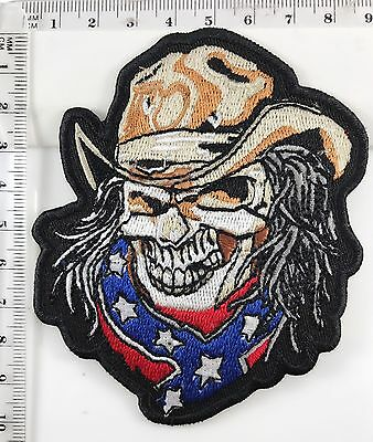 CONFEDERATE SKULL COWBOY RODEO - SEW IRON ON BIKER MOTORCYCLE PATCH No-181