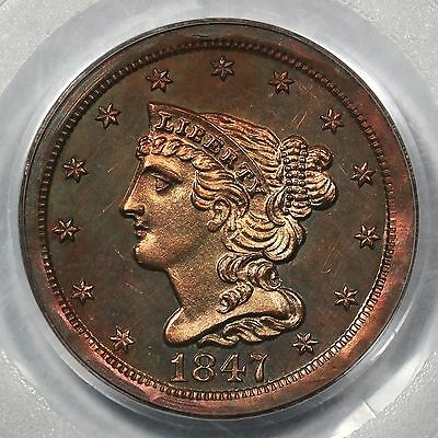 1847 PCGS PR 63 BN Restrike Braided Hair Half Cent Coin 1/2c