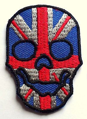 UNION JACK FLAG SKULL - SEW OR IRON ON BIKER MOTORCYCLE PATCH No-97