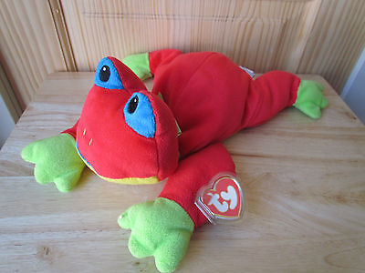 Ribbit Ty The Frog Multicolored Pillow Pet Retired 1998 15 Inch Large Plush Euc!