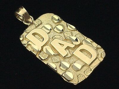 10k Yellow Gold Solid DAD Nugget Style Pendant Rectangle Charm 2.1 grams