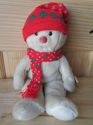 Large 16 Inch Snowboy Ty Snowman Beanie Baby With Knitted Scarf, Hat, Protector