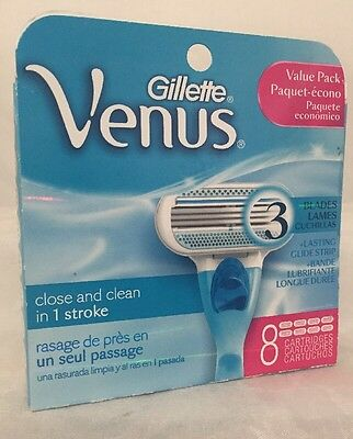 Gillette Venus Close and Clean 8 Cartridges 3 Blades