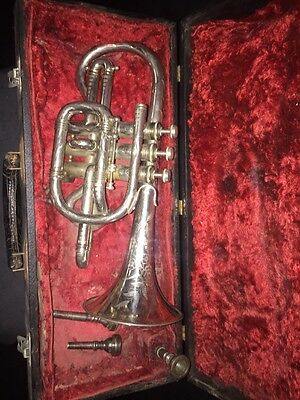 Antique Cornet Silver Plated Champion Chicago