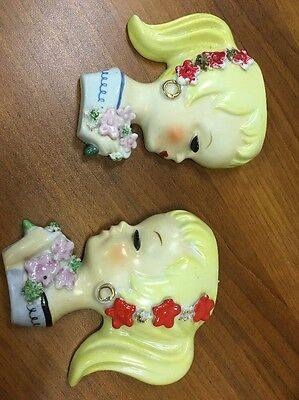 Pair Young Lady Teen HEAD VASE Blonde Wall Pockets Planter w/wire frame