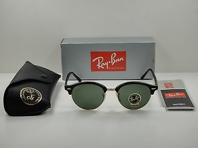 92a1742cca Ray-Ban Clubround Sunglasses Rb4246 901 Black & Gold/Green Classic Lens 51Mm