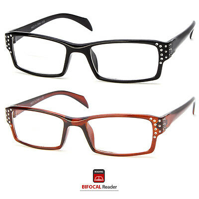 Bifocal Reading Glasses Clear Lens Rhinestone Women Stylish Strength Power