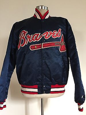VINTAGE 1990's ATLANTA BRAVES SATIN STARTER BASEBALL JACKET MEN'S LARGE!