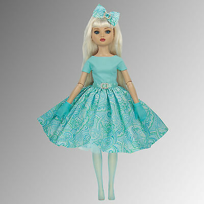 Ellowyne Wilde or Miette Doll Dress - Aqua Marine Sparkle, Stockings & Gloves