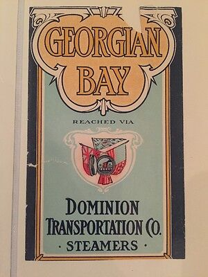Antique Steam Ship Label Time Table Cover Georgian Bay Dominion Transportation