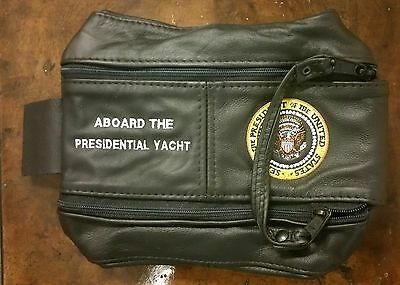 """Leather """"Aboard the Presidential Yacht"""" Accessory bag with Presidential Seal"""