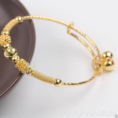 Childrens Adjustable 24K Yellow Gold Filled With 2 X Bells Bangle-Fit 0-2 Yrs