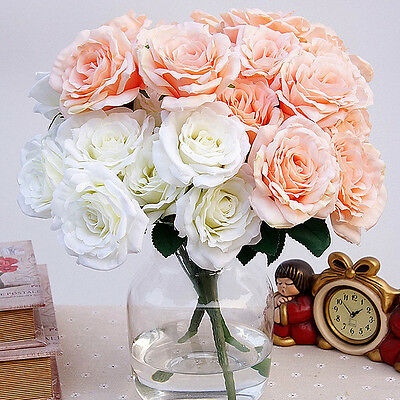 12 Heads Artificial Silk Rose Flowers Bridal Hydrangea Party Wedding Decor Home
