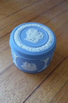 WEDGWOOD Lidded Trinket Pill Box Powder Blue Jasperware