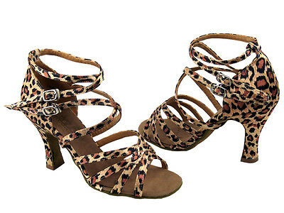 "50085 Leopard Leather Salsa Ballroom Latin Tango Dance Shoes 2.5"" / 3"" Very fine"