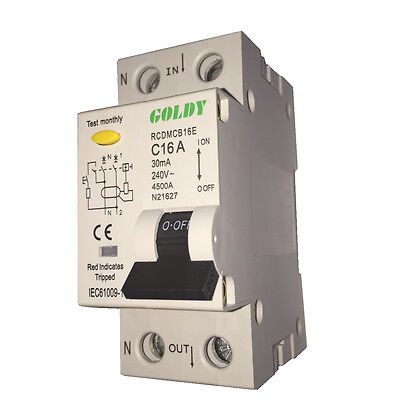 Goldy 2 Module 4.5ka Miniature Circuit Breaker & Residual Current Device Combo