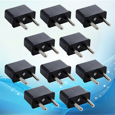 10 PCS US USA to EU Euro Europe AC Power Plug Converter Travel Adapter Charger