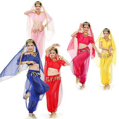 3 Pics Belly Dance Costume Set Top Veil+ Pants Hip Scarf & Head Scarf with Coins