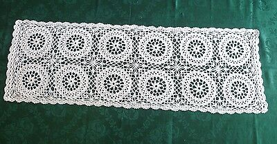 BEAUTIFUL  VINTAGE HAND CROCHETED WHITE TABLE RUNNER 79cms X 26cms