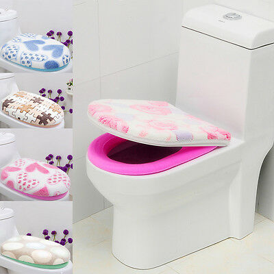 1 Set Mat + Lid Cover Bathroom Warmer Toilet Closes Tool Washable Seat Cover Pad