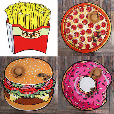 Fries Pizza Hamburger Donut Slice Round Beach Pool Home Shower Towel Blanket HOT