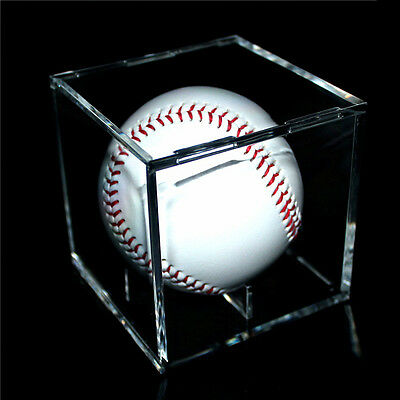 1 X 8CM Acrylic Clear Baseball Display Case Tennis Cube Box Holder UV Protection