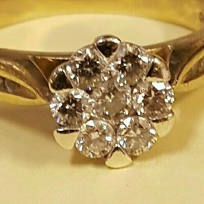 Engagement ring 9ct gold diamond cluster