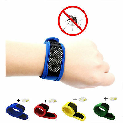 NEW Anti Mosquito  Bracelet Wrist Band Bug Insect Repellent 4 Repellent Refills