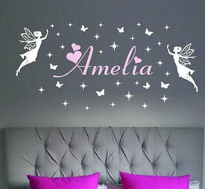 Beautiful Fairies Any Custom Name Wall Stickers Removable Butterflies Star Fairy