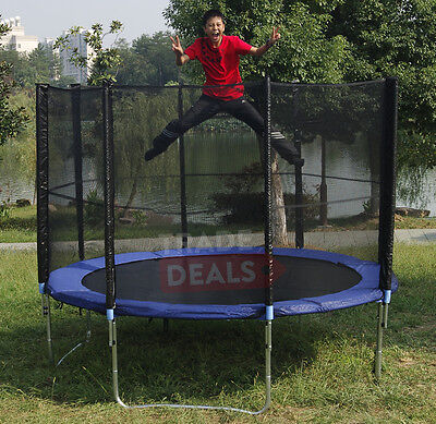 XL 8FT Trampoline With Safety Net Enclosure Ladder Rain Cover Outdoor Activity