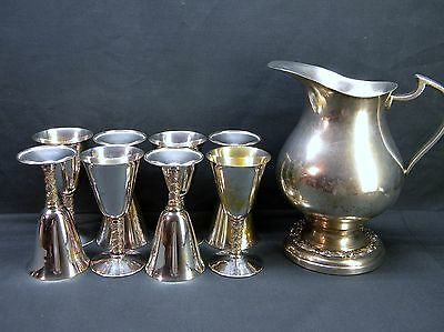 "ENGLISH SILVER MANUFACTURING Company SILVERPLATE PITCHER w/ 8 ""VENEZIA"" Goblets"