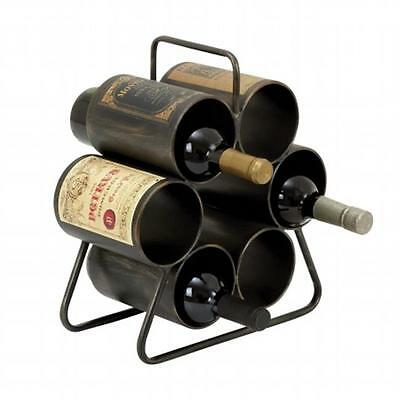 EcWorld Enterprises Urban Designs Metal 6-Bottle Hexagon Wine Rack Display
