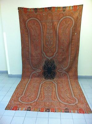 """Antique Kashmir Paisley Shawl with Coral Center, 19th C (125"""" X 65"""")"""