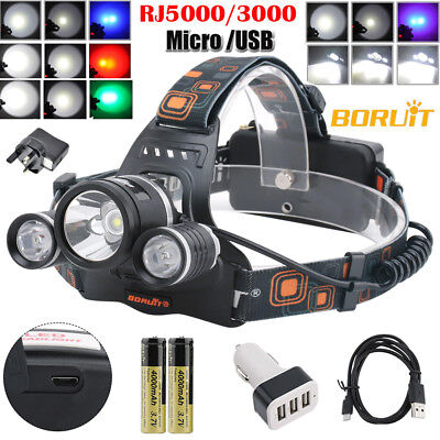 BORUiT Fishing Light 13000 LM 3xXM-L 3T6 LED Headlamp Headlight Head Torch USB