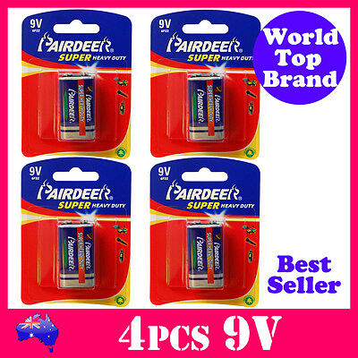 4pcs 9V Smoke Alarm Battery Super Heavy Duty PairDeer 6R61 New Stock