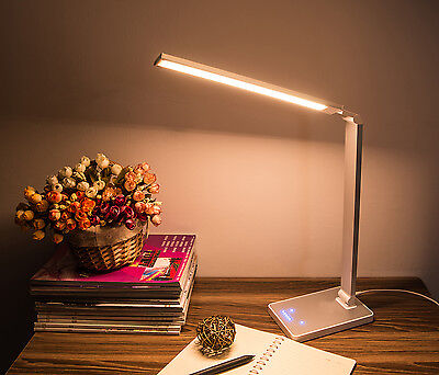 Aluminium Dimmable Led Table Desk Bedside 4 Colour Home Office Lamp Light 10W