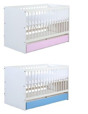 Baby Child WOODEN WHITE PINK/BLUE COT BED WITH DRAWER  free MATTRESS 120x60cm