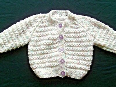 Babies Hand Knitted Cardigan, 0-3 months, White variegated wool.