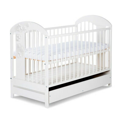 HIGH QUALITY BABY REAL WOOD WHITE COT BED WITH/WITHOUT DRAWER+MATTRESS 120x60cm