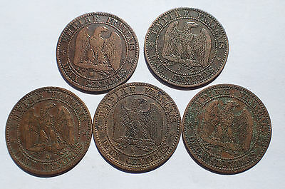 PIECE - lot 5 pieces 2 centimes NAPOLEON III FRANCE / B189