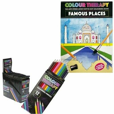 Anti-Stress Adult Colouring Book Dot To Dot (Famousplaces) +12 Colouring Pencils
