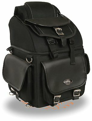 Textile Back Seat Sissy Bar Bag w/ 5 Large Outer Pockets Fits Most Harley's