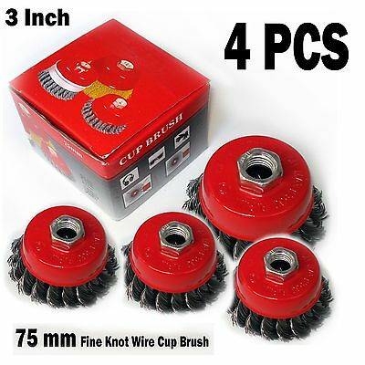 "4 PCS  3"" x 5/8"" 11 NC FINE Knot Wire Cup Brush Twist - For Angle Grinders Wheel"