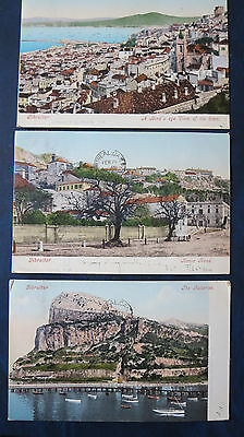 Vintage Postcards 1905 Used Gibraltar Lot Of 5 With Stamps