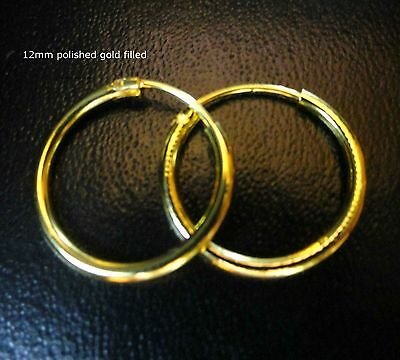 Men's polished 18k yellow Gold Filled Plated Hoop Circle Earrings Gift /UK