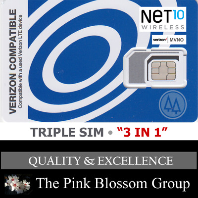 NET10  TRIPLE SIM Card • MINI 2FF MICRO 3FF NANO 4FF   • CDMA 4GLTE Verizon MVNO