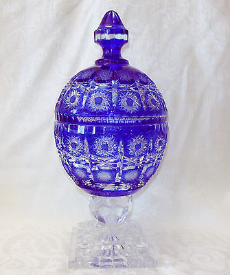 Cobalt Blue 'queen Lace Cut' Bohemian Lead Crystal Candy Dish On Pedestal W/ Lid