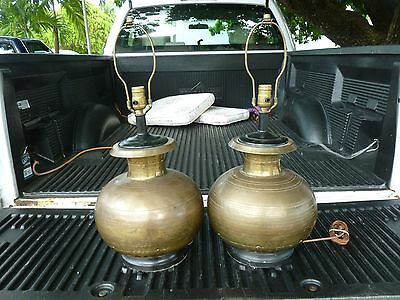 Pair  Marvelous Hand Made Antique Indian Hammered Brass Bulbous Table Lamps